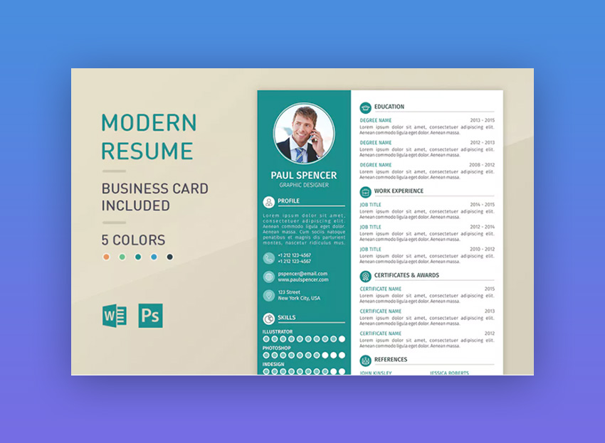 modern business template cv