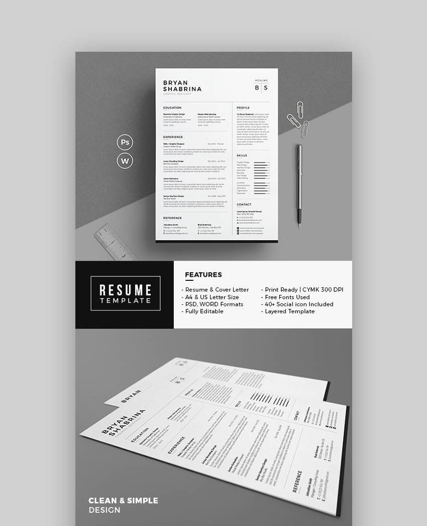 Free Resume Word Template 20 Modern Resume Templates With Clean Elegant Cv Designs 2019