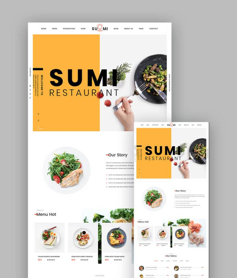 Sumi Simple Restaurant Template