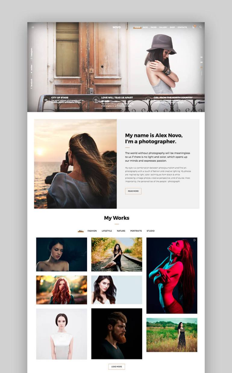 Novo WordPress Photography Theme