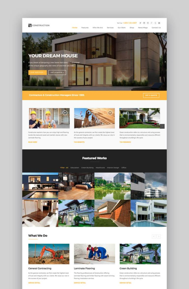 WP Construction modern theme