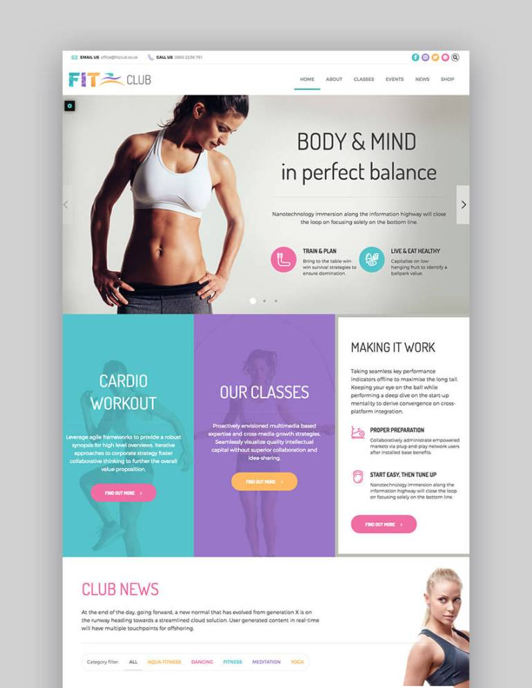 Fitness Club multipurpose WordPress theme