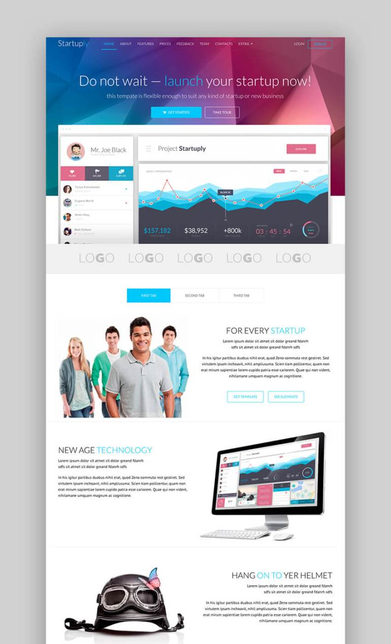 Startuply multipurpose landing page template