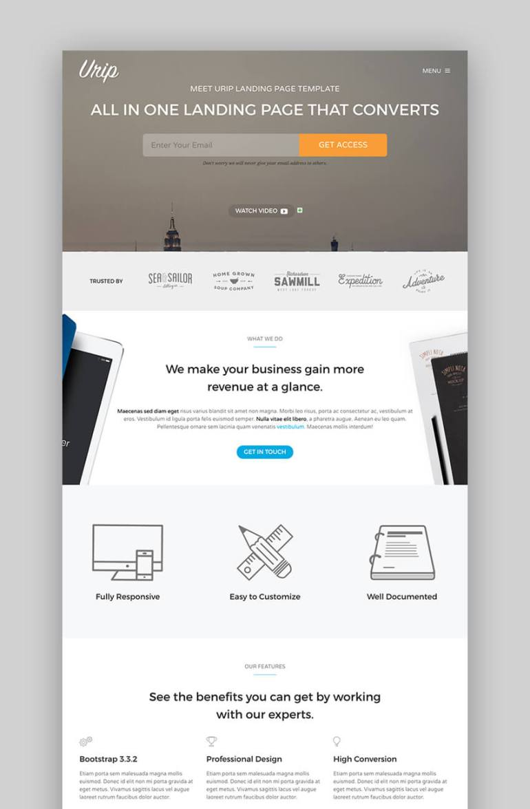 Urip professional landing page template