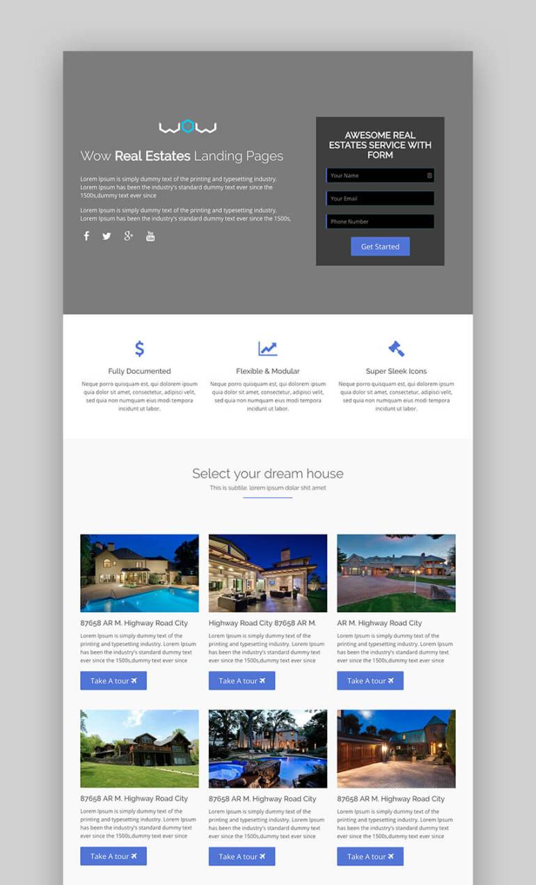 WOW real estate landing page builder
