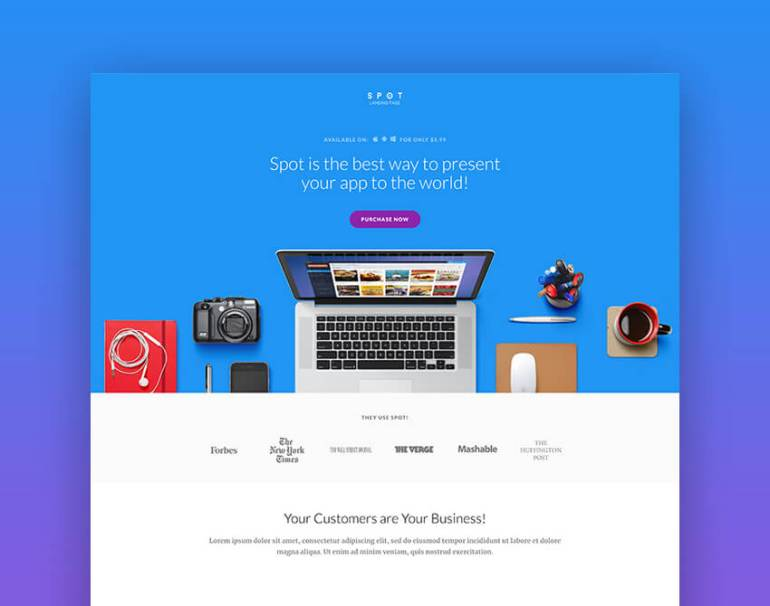 landing page template example CTA