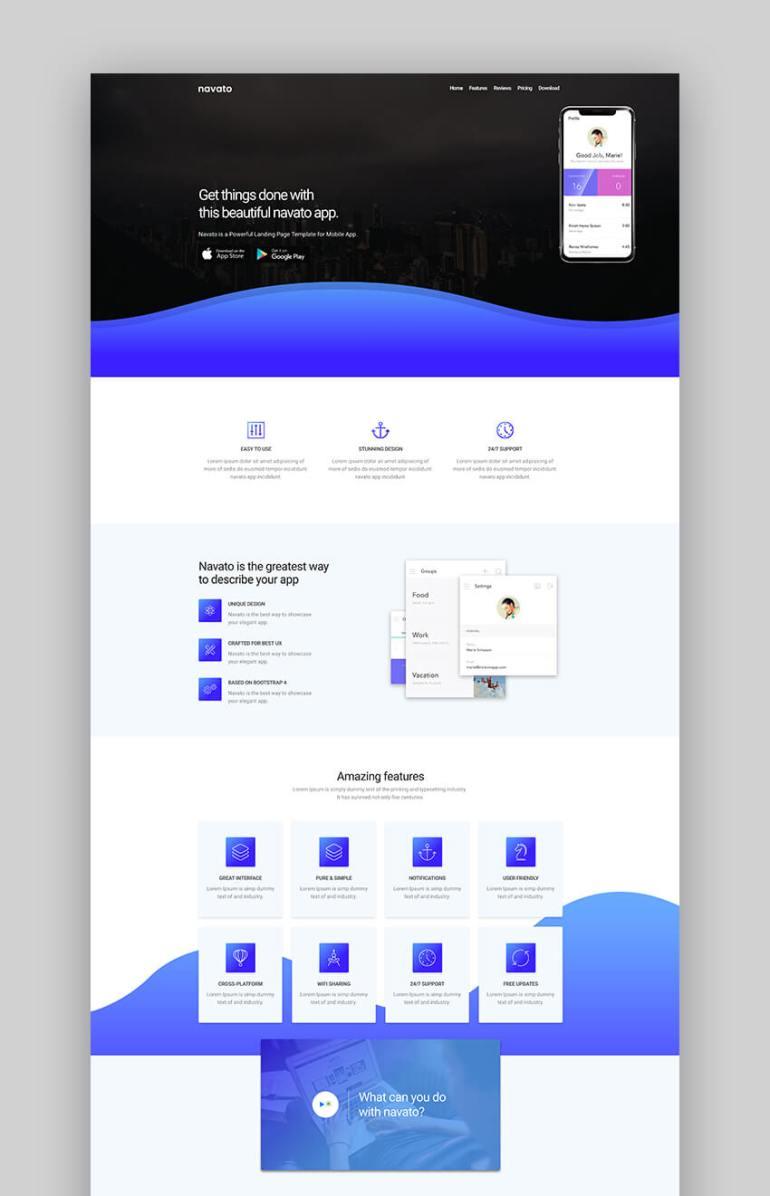 Navato clean app landing page template