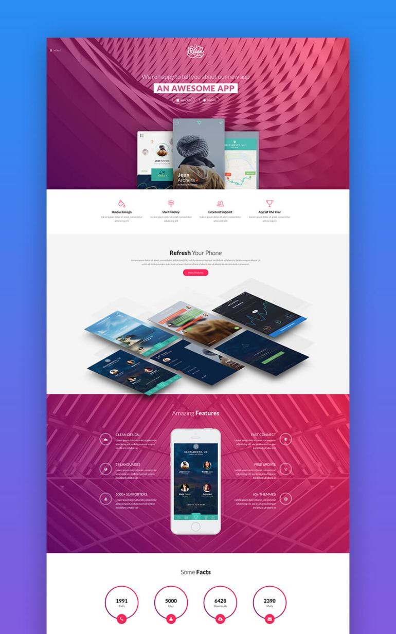 Riven app landing page design template