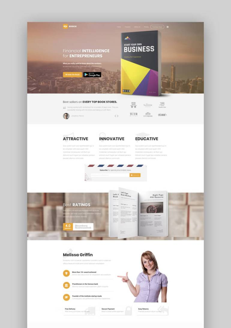 Boekoe business book landing page template