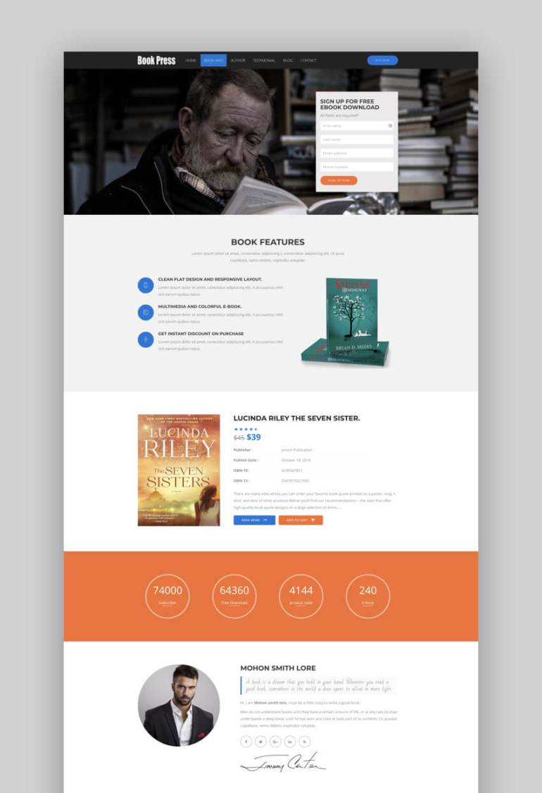 BookPress book landing page template