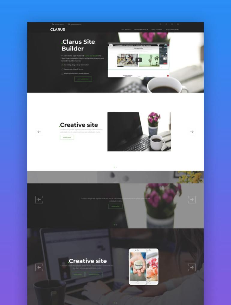 Clarus creative book landing page template