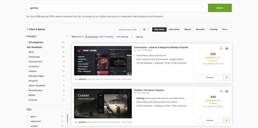 Game website HTML templates