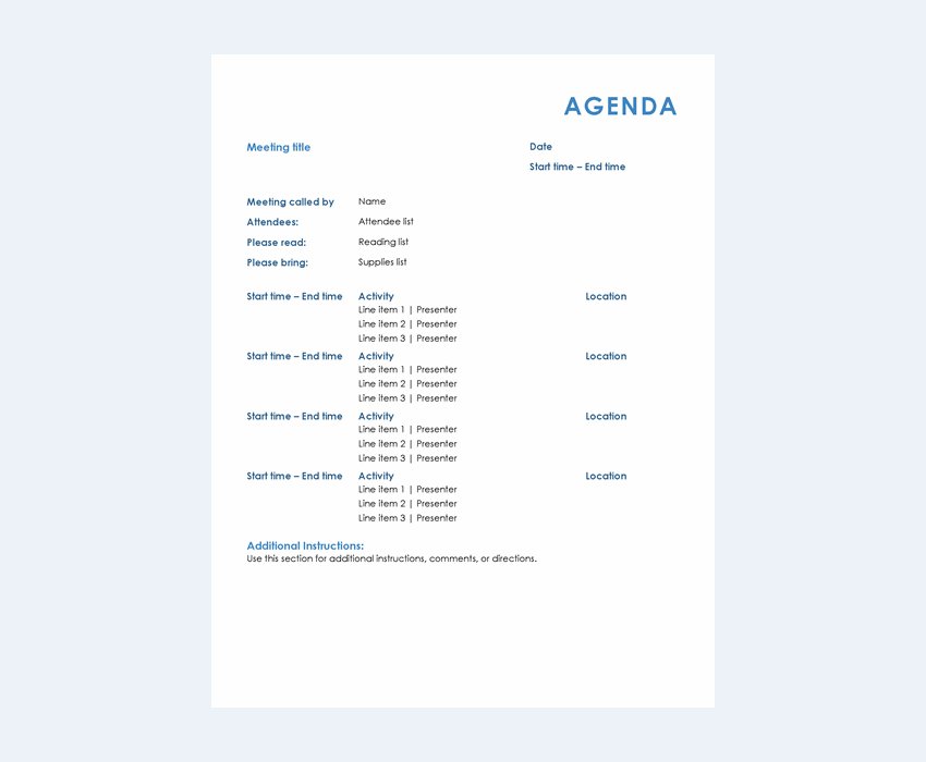 Design your agenda with adobe spark. 20 Best Free Microsoft Word Meeting Agenda Templates To Download 2021 Laptrinhx
