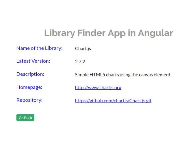 Library finder app LibraryDetailsComponent