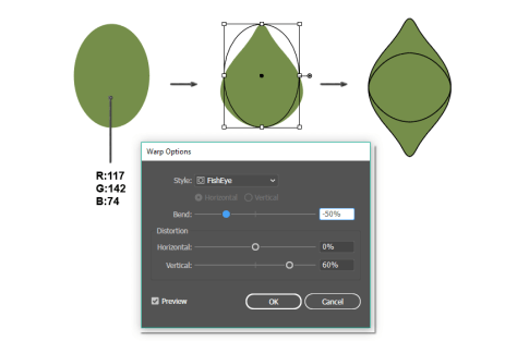 how to create the leaf shape