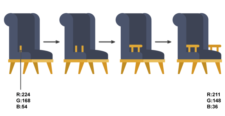how to create the armrests  of the chair