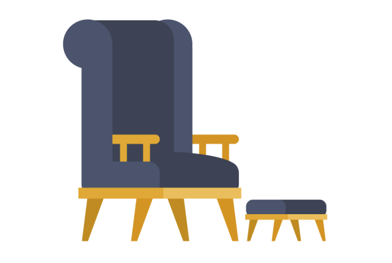 placing together the padded stool and the chair