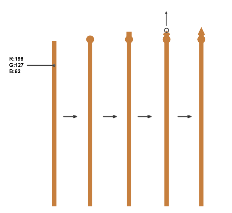 how to create the vertical parts of the bookshelf