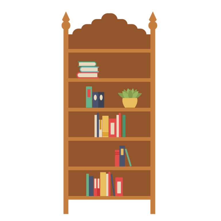 placing the house plant on the bookshelf