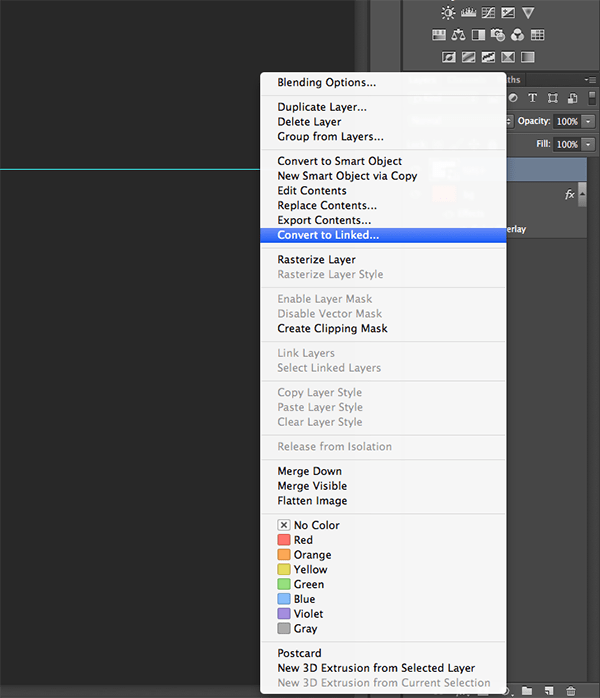 Smart Objects Convert to Linked in Photoshop CC 2014