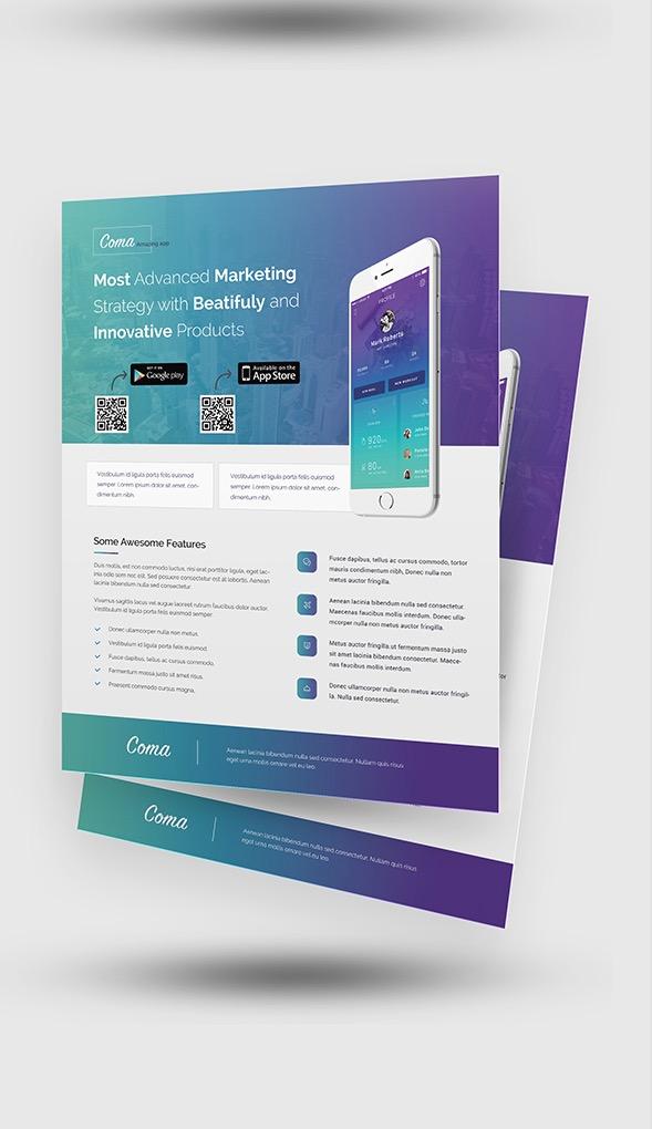 Modelli di volantini per la promozione di app per dispositivi mobili
