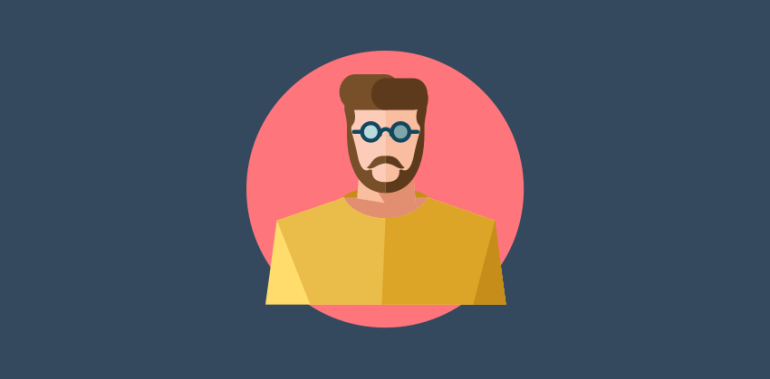 Flat designed developer  hipster