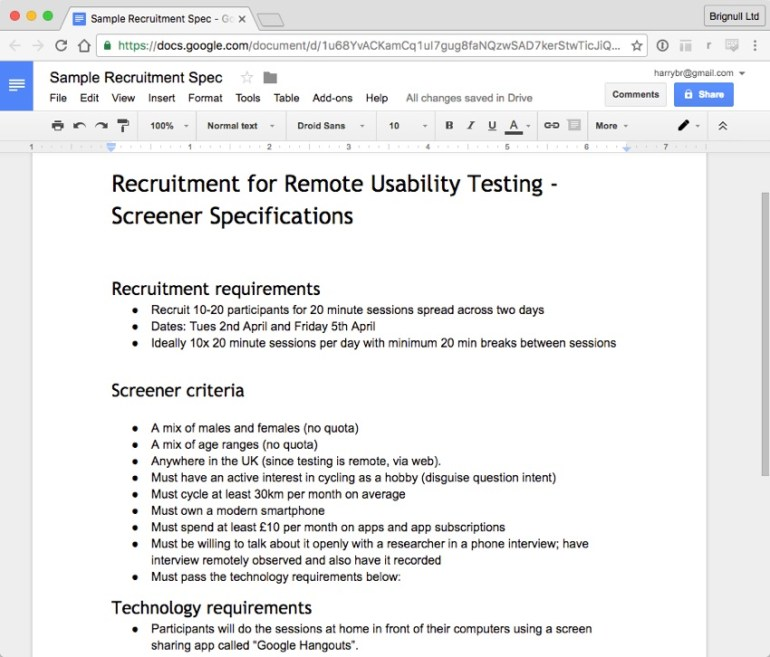 Screenshot of a basic recruitment specification document