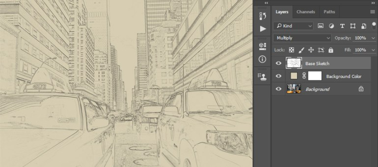 Renaming layer to Base Sketch and changing its blending mode