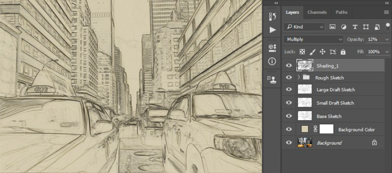 Renaming layer to Shading_1 and changing its blending mode and opacity