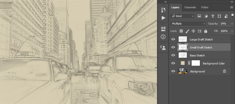 Renaming layer to Small Draft Sketch and changing its opacity