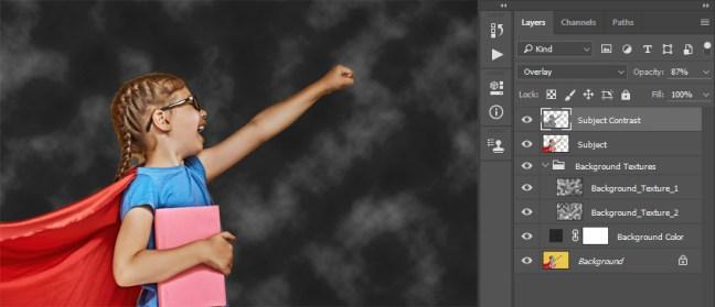 Cambiar el modo de fusión y la opacidad de la capa de contraste de sujeto