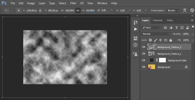 La creación de una nueva capa denominada Background_Texture_2 que agrega filtro hace que las nubes se transformen y la capa