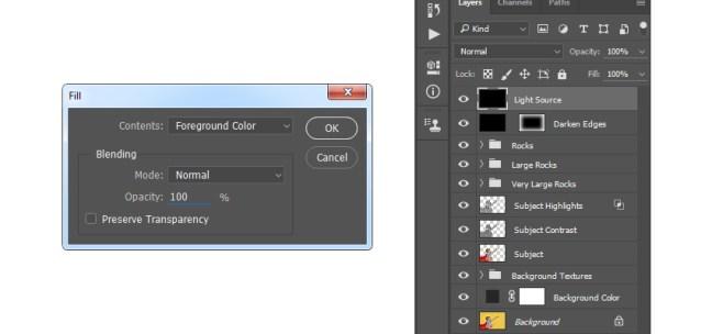 Llenar la capa de fuente de luz con color de primer plano