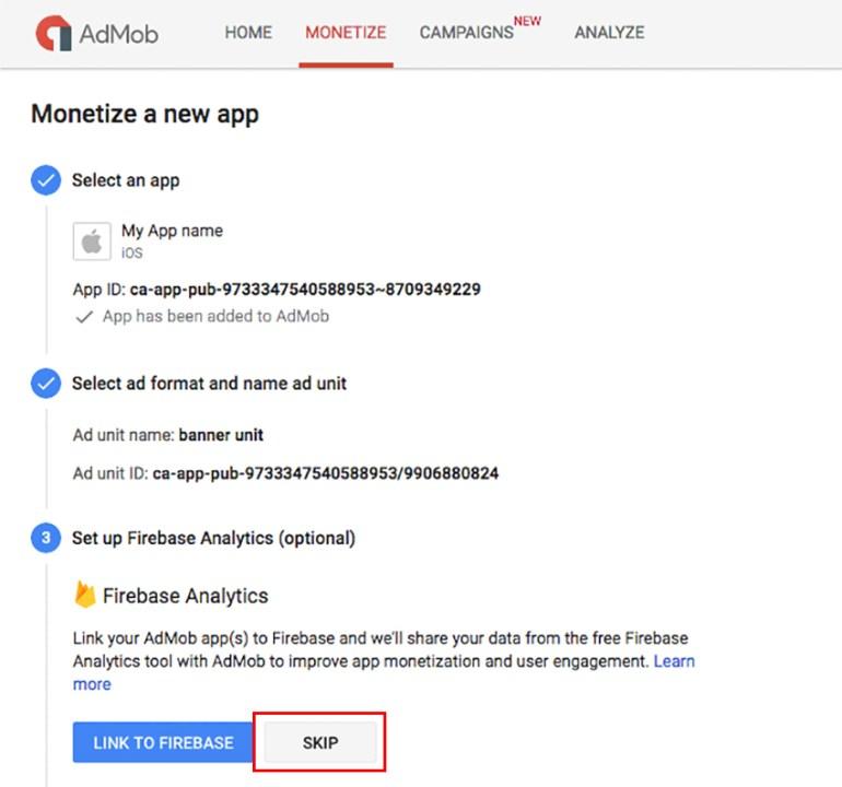 Link AdMob to Firebase Analytics optional