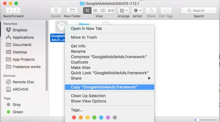 Copy GoogleMobileAdsframework