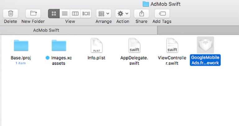 Paste GoogleMobileAdsframework into your project folder