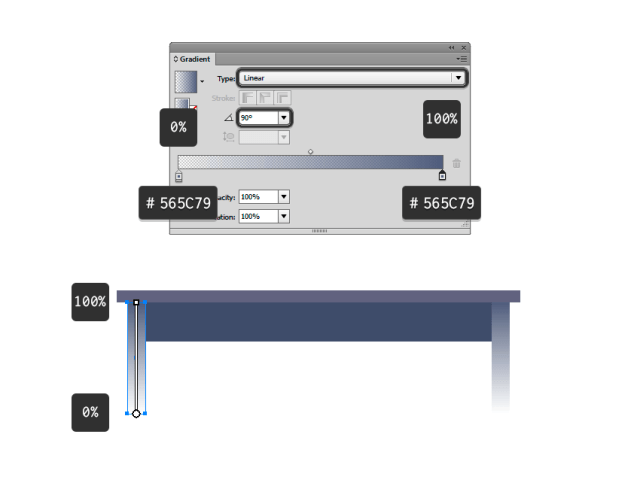 Creating the legs of the desk and applying a gradient