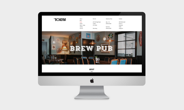 Bohemia Brew Pub website mock up