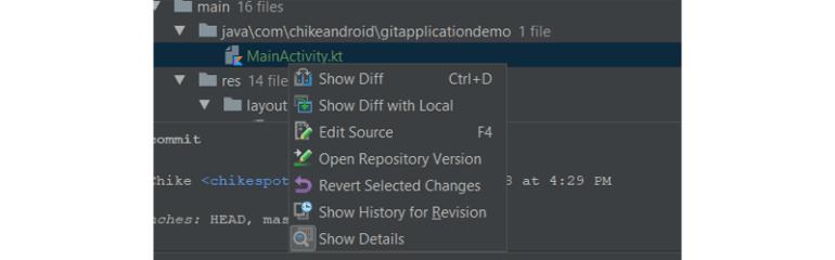 File commit menu