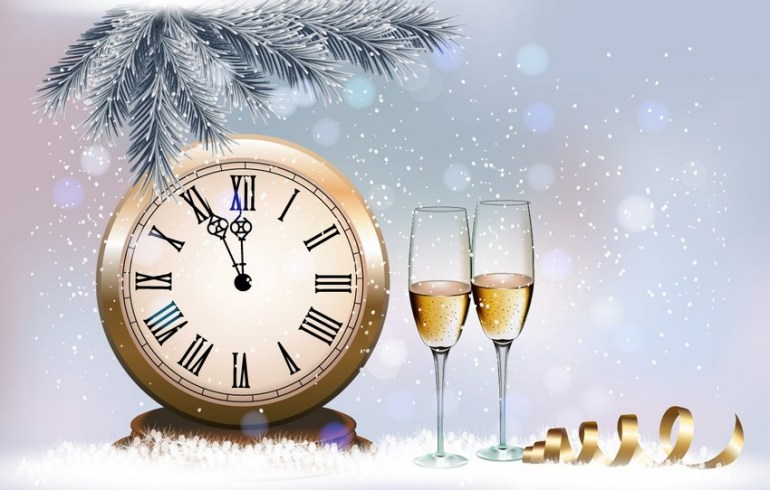 holiday retro background with champagne design in Illustrator