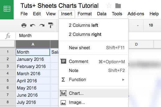 Insert Chart in Google Seets