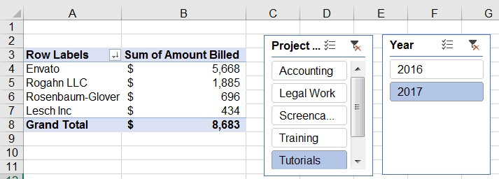 Sliced data in Excel