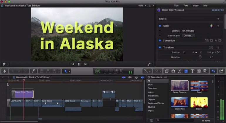 Final Cut Pro title cards