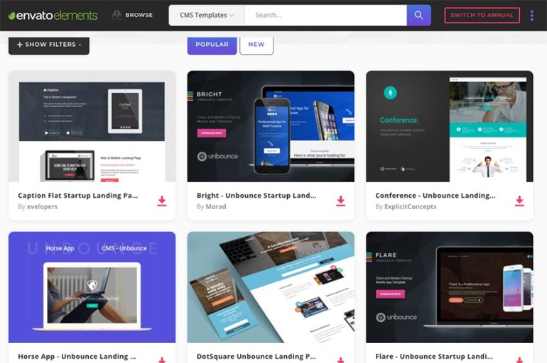 Elements Unbounce Landing Page Templates