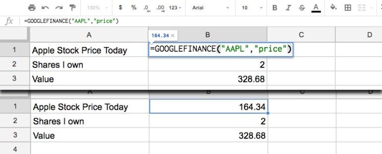Google Finance Stock Price Screenshot