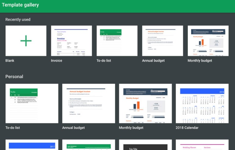 Google Sheets Template Gallery