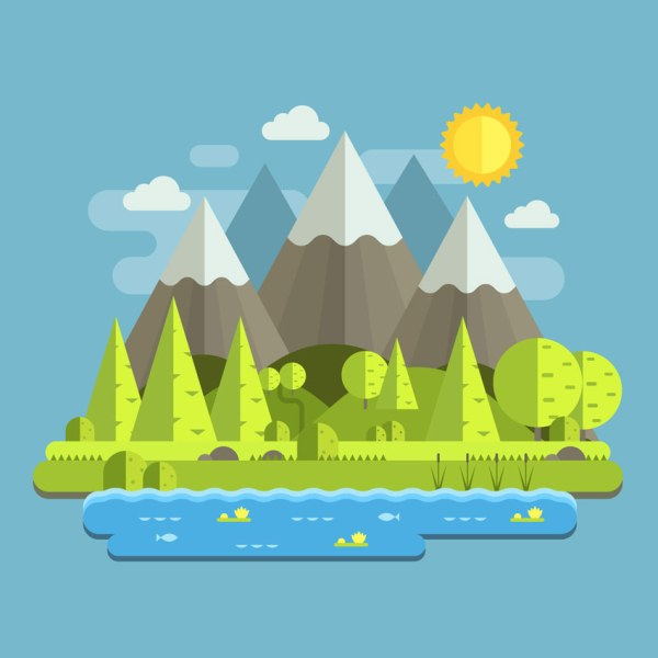Create Mountain Landscape In Flat Style Adobe