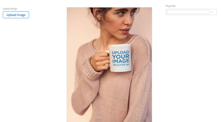 Coffee Mug Mockup Held by a Woman Wearing a Cozy Sweater