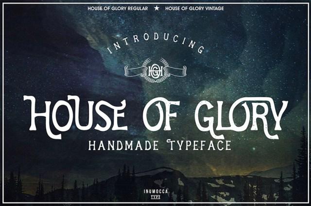 Phông chữ House Of Glory Serif có dấu gạch chéo