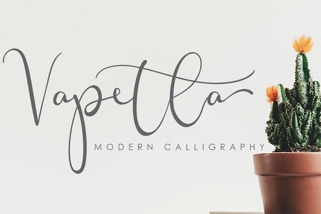 Font chữ thảo Vapetla với đuôi dài